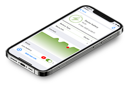 iPhone with Fluid App monitoring battery voltage